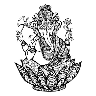 Dekorative ganesha-illustration