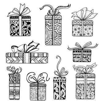 Dekorative geschenkkästen stellten schwarzes gekritzel ein