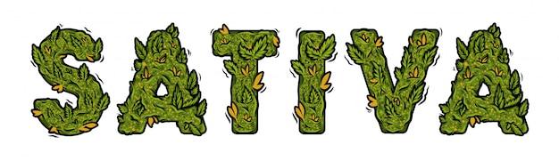 Dekorative grüne marihuana-schrift mit isoliertem schriftzugdesign.