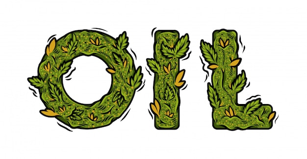 Dekorative grüne marihuana-schrift mit isolierter beschriftung