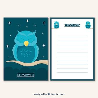 Dekorative grußkarte mit blauer eule