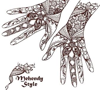 Dekorative hände mit hennastrauch-tätowierungen