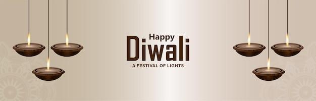 Dekorative hängende diwali diya auf weißem hintergrund