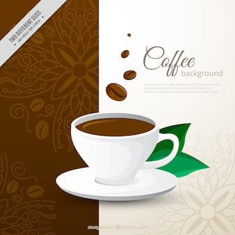 Dekorative hintergrund der kaffeetasse