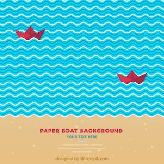 Dekorative hintergrund mit roten papier boote