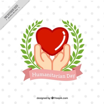 Dekorative humanitären tag hintergrund mit den händen und lorbeerkranz