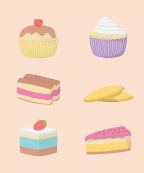 Dekorative ikonen der kuchen und der bonbons eingestellt