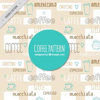 Dekorative kaffee muster mit zeichnungen