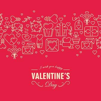 Dekorative karte des glücklichen valentinstags mit verschiedenen symbolen wie herz, band, umschlag und wünsche freuen sich an diesem tag illustration