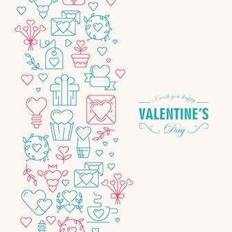 Dekorative karte des glücklichen valentinstags mit wünschen sei glücklich und viele symbole stiegen und grün gefärbt wie herz, band, umschlagillustration