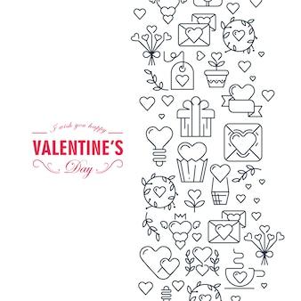 Dekorative karte des glücklichen valentinstags mit wünschen sei glücklich und viele symbole wie herz, band, umschlag, geschenkillustration