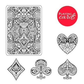 Dekorative Kartenanzüge Set