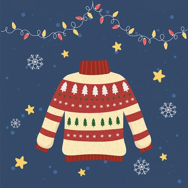 Dekorative kiefer und lichter der weihnachtshässlichen strickjackenparty
