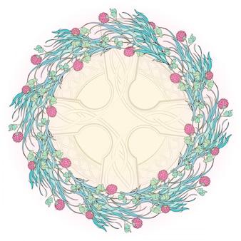 Dekorative komposition mit blühendem rotklee und keltischem kreuz. festliches design des st. patrick's day.