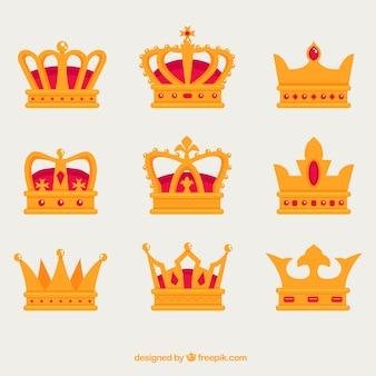 Dekorative kronen mit verschiedenen arten von designs