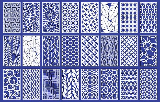 Dekorative lasergeschnittene plattenschablone mit abstrakter textur. geometrisches und florales laserschneiden oder gravieren von panel-vektor-illustrationsset. abstrakte schneideplatten-vorlage