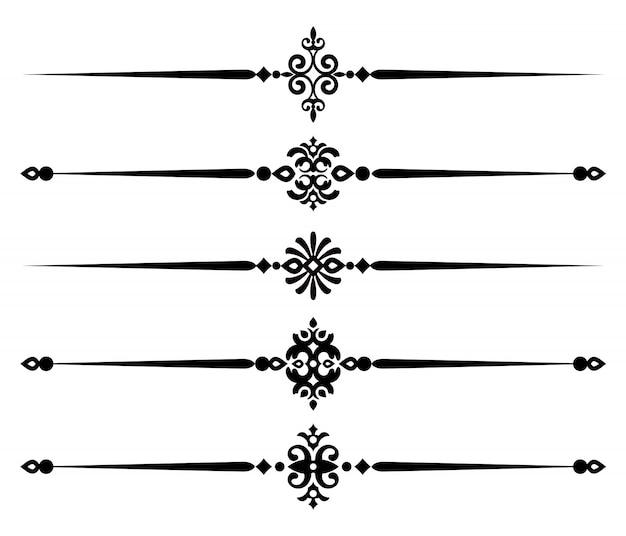 Dekorative linie elemente der sammlung, satz von schönen dekorativen regeln