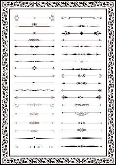 Dekorative linien elemente für design schwarze farbe des vektors