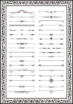 Dekorative linien gestaltungselemente schwarze farbe