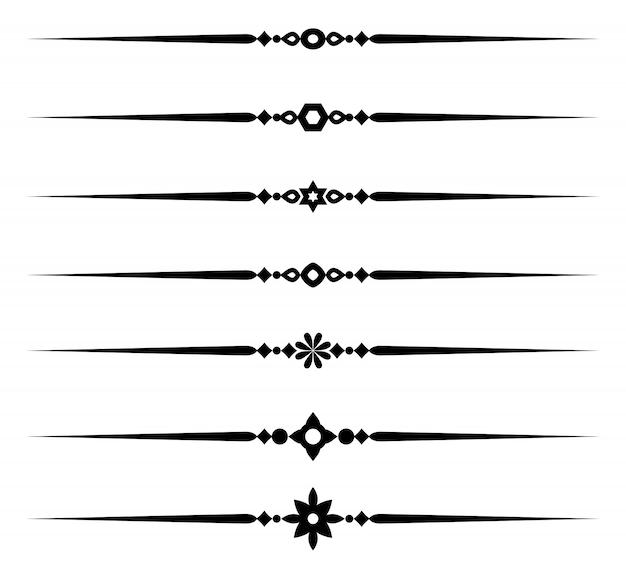 Dekorative linienelemente der kollektion, verschiedene zierregeln