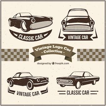 Dekorative logos mit oldtimern