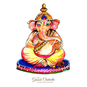 Dekorative lord ganesha für ganesh chaturthi karte