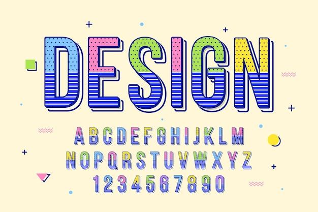 Dekorative memphis-schrift und alphabet