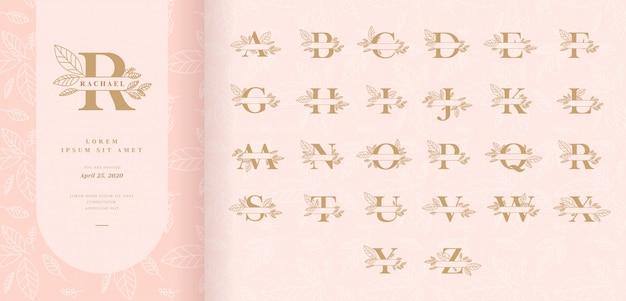 Dekorative monogrammspaltbuchstaben mit blättern