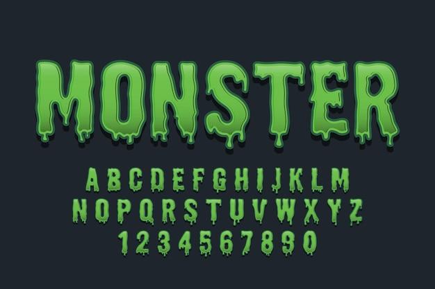 Dekorative monsterschrift und alphabet