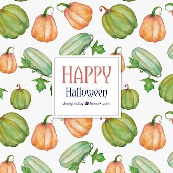 Dekorative muster mit aquarell halloween kürbisse