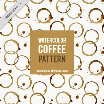 Dekorative muster mit aquarell kaffeeflecken