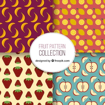 Dekorative muster mit früchten in flachem design