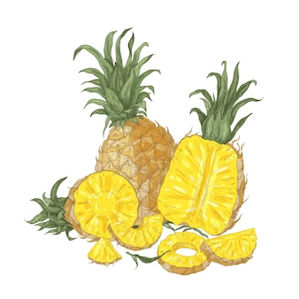 Dekorative natürliche zusammensetzung mit ganzen und geschnittenen frischen bio-ananas und scheiben isoliert auf weiß