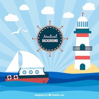 Dekorative nautischen hintergrund mit schiff und leuchtturm
