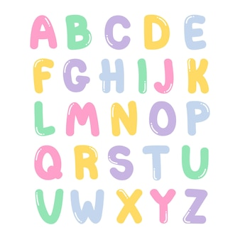 Dekorative niedliche schrift und alphabet