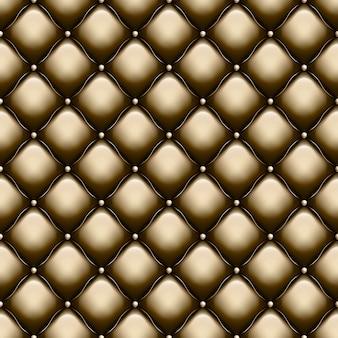 Dekorative polsterung soft gloss nahtloses steppmuster. echte luxusschablone mit goldfaden. und beinhaltet auch