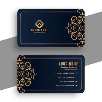 Dekorative premium-visitenkarte in schwarz und gold