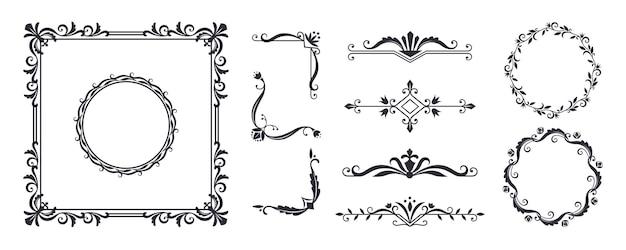 Dekorative rahmenelemente. vintage monogramm design