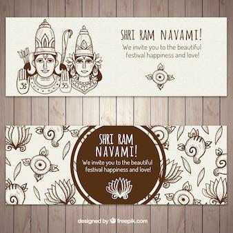 Dekorative ram navami banner in der hand gezeichnete stil
