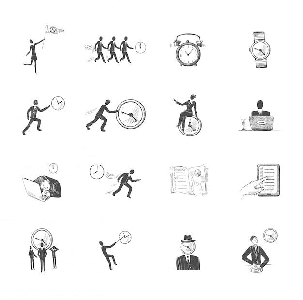 Dekorative satz von skizze zeit-management-symbole mit arbeitenden menschen mit uhren isoliert vektor-illustration