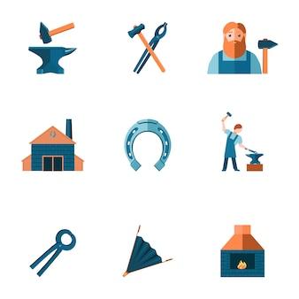 Dekorative schmiede shop amboss stahl zangen werkzeuge und hufeisen piktogramme symbole sammlung flache isoliert vektor-illustration