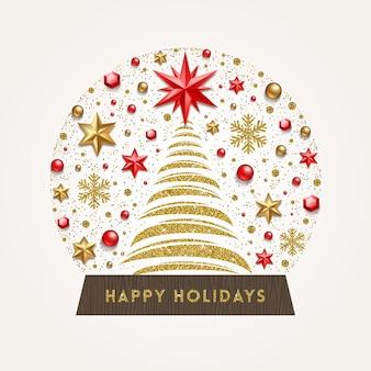 Dekorative schneekugel mit abstraktem weihnachtsbaum und feiertagsdekor
