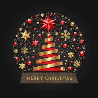 Dekorative schneekugel mit band in der form des weihnachtsbaumes