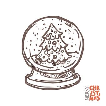 Dekorative schneekugel weihnachten mit festlichem baum