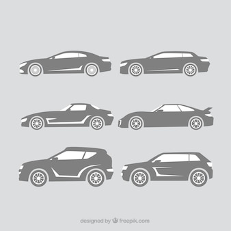Dekorative silhouetten von großen autos