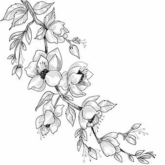 Dekorative skizze der blumenkomposition