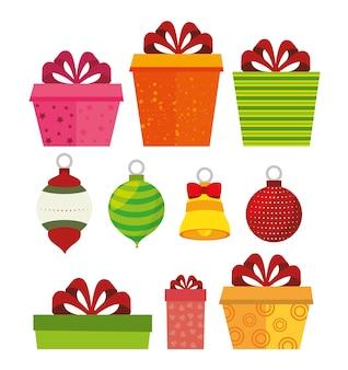 Dekorative stoffe und kiefer der frohen weihnachten