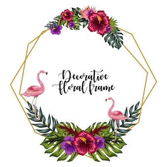 Dekorative tropische blumenrahmenverzierung mit flamingo