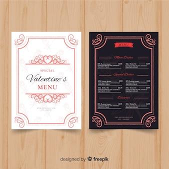Dekorative valentinstag-menüvorlage