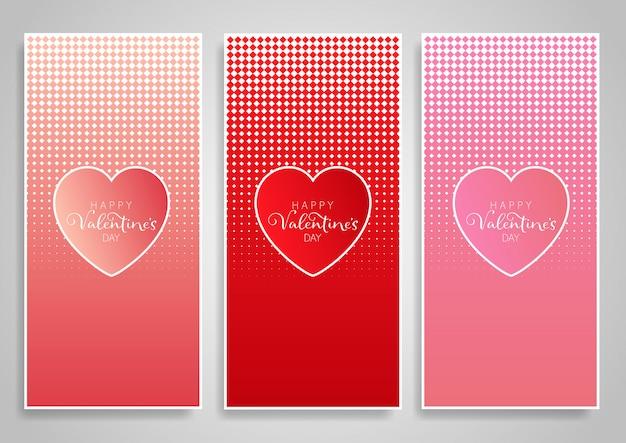 Dekorative vertikale banner-designs zum valentinstag